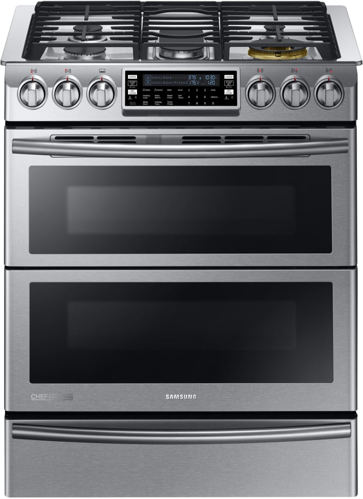 Samsung Ny58j9850ws 30 Inch Slide In Dual Fuel Range With