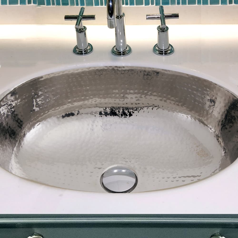 Nantucket Sinks Ovsof 17 Inch Oval Undermount Bathroom Sink With 18 Gauge Stainless Steel Hand Hammered And Overflow