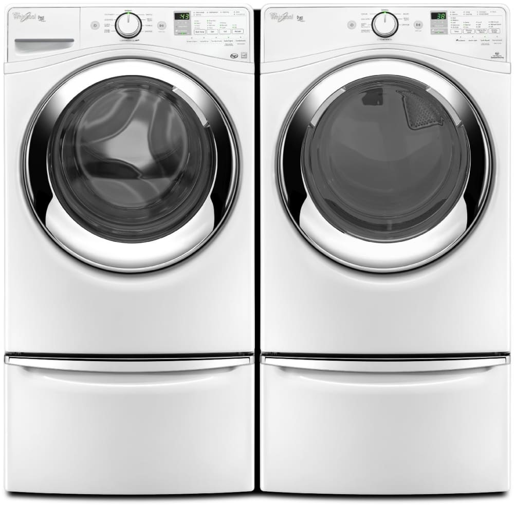 whirlpool wfw87hedw laundry pair with pedestals