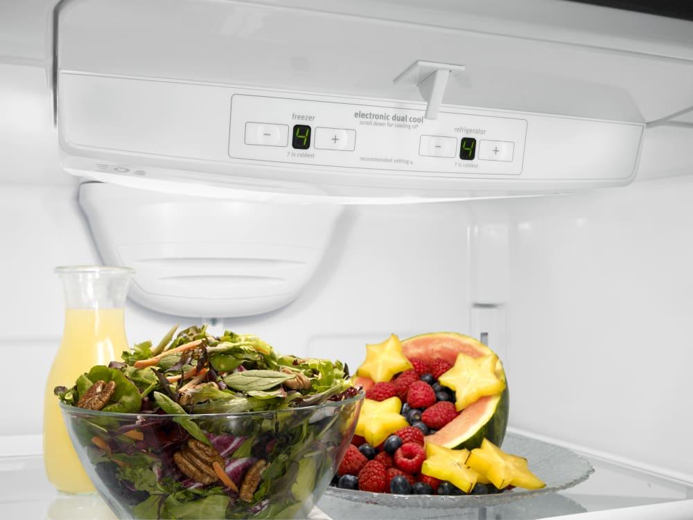 whirlpool wrb119wfbm 30 inch bottom freezer refrigerator with freshflow produce preserver