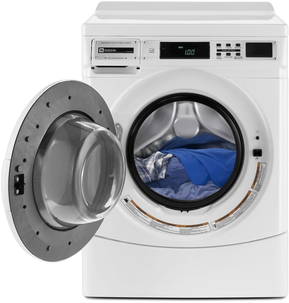 Maytag MHN30PRCWW 27 Inch Front Load Commercial Washer with