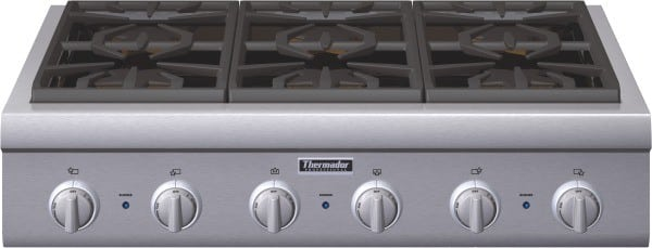 Thermador Gas Cooktop With Downdraft: Thermador PCG366G 36 Inch Pro-Style Gas Rangetop With 6