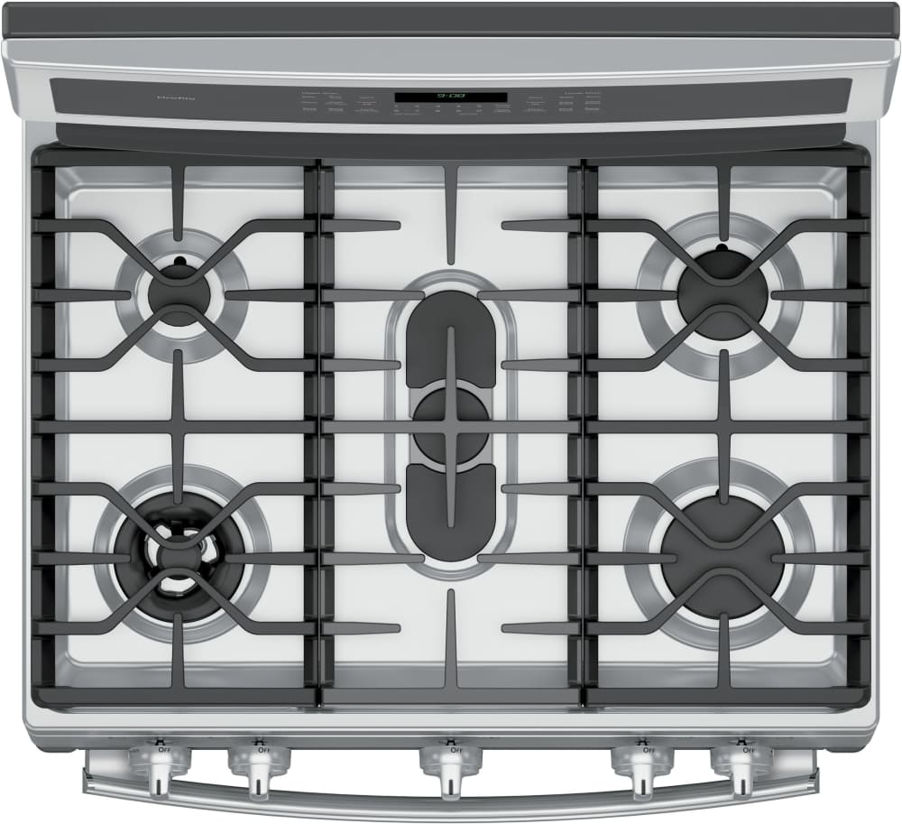 ge profile pgb980zejss top view showing dualpurpose center oval burner