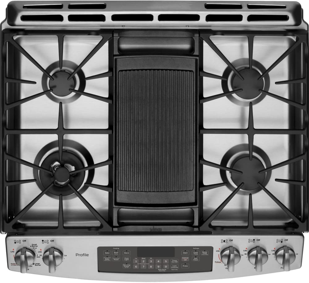 cooktop view ge profile pgs920sefss show with griddle accessory
