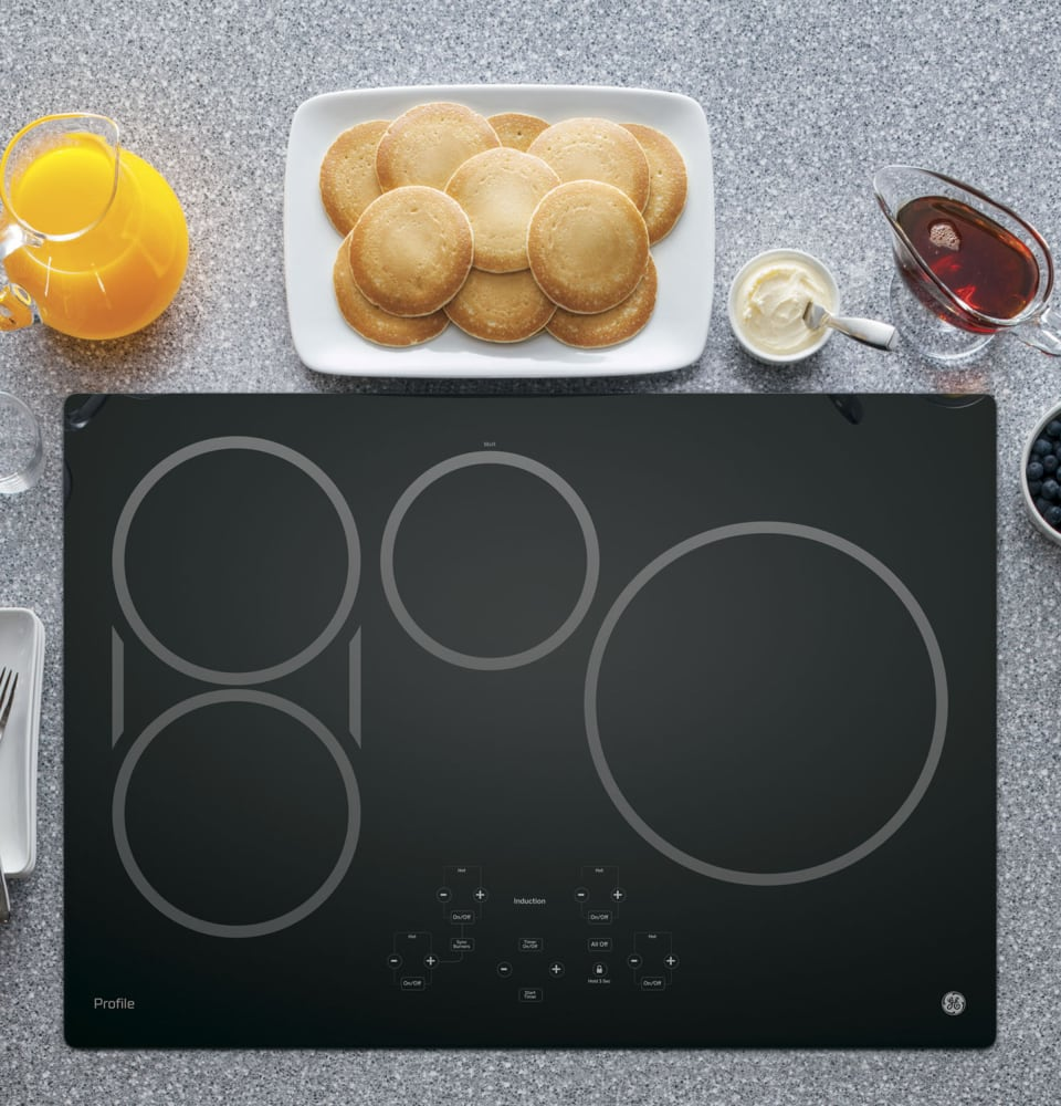 GE PHP9030DJBB 30 Inch Induction Cooktop with 4 Cooking Zones, SyncBurners,  Digital Red LED Touch Controls, Kitchen Timer, Control Lock, All-Off  Feature, ...