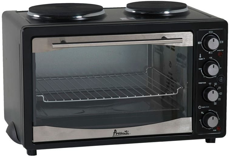 Avanti POB11A1B 1.1 cu. ft. Countertop Oven with 2 Hotplate Burners ...