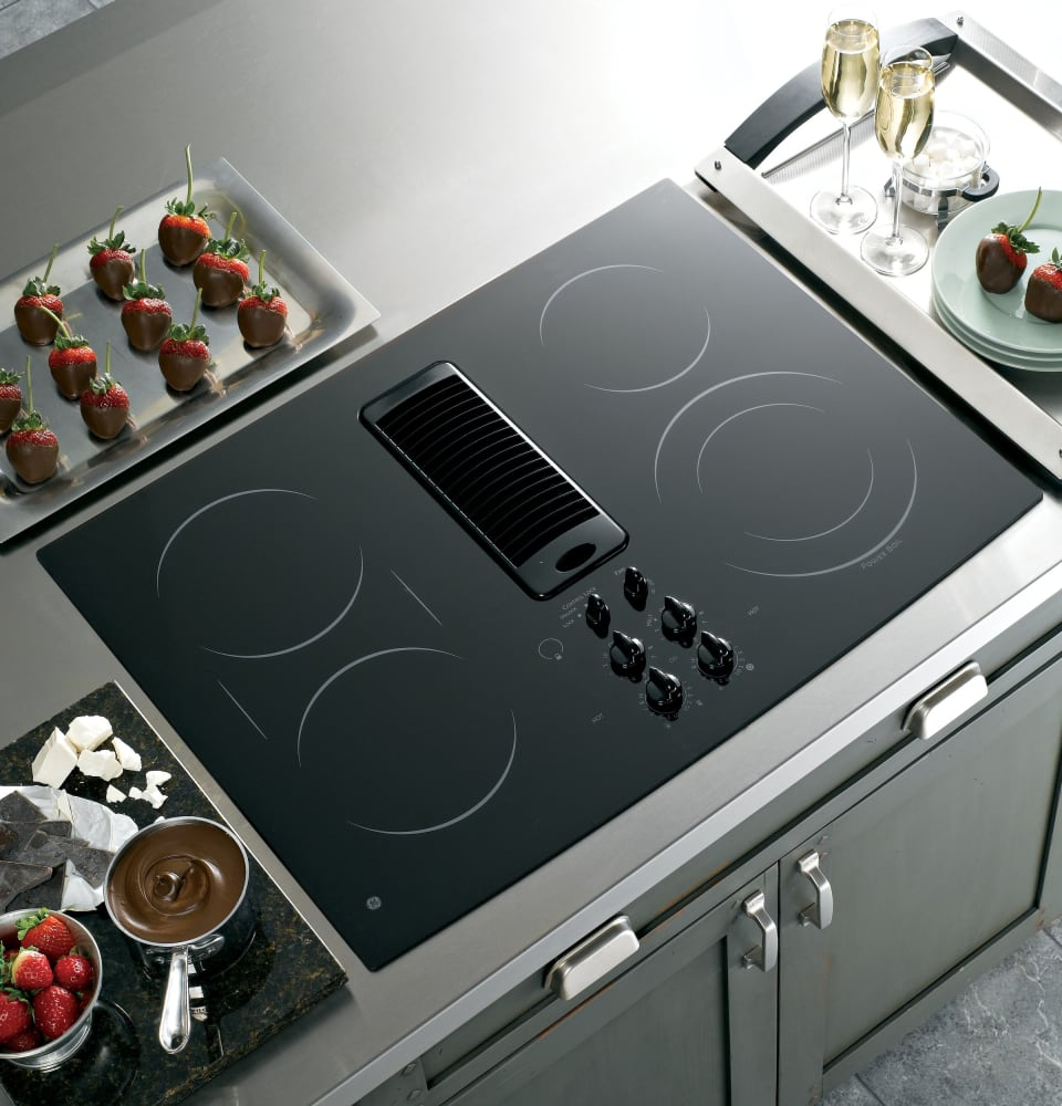 30 Inch Downdraft Electric Cooktop ~ Ge pp dnbb inch smoothtop electric downdraft cooktop