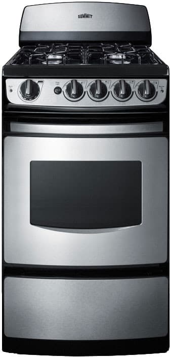 Summit Pro200ss 20 Gas Range With 4 Open Burners And 2 Cu Ft