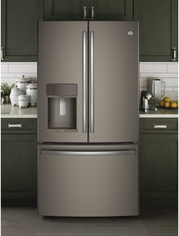 Ge pye22kmkes 36 inch counter depth french door refrigerator with twinchill evaporators turbo - Tall refrigerators small spaces property ...