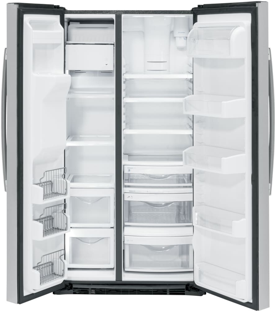 Ge 30 inch side by side white refrigerator -  Ge Pzs22mskss Interior View