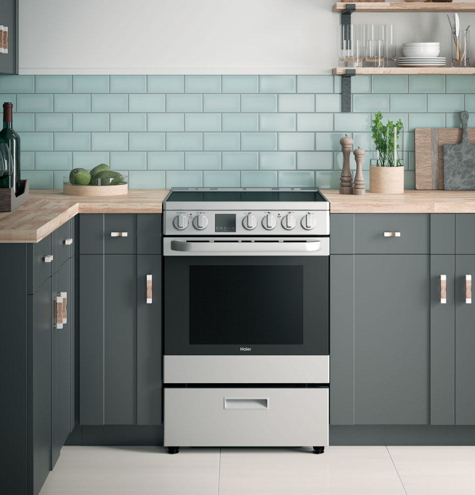 Haier QAS740RMSS 24 Inch Freestanding Electric Range with Convection ...