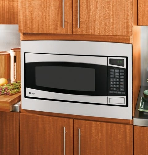 Ge pem31smss 1 0 cu ft countertop microwave oven with for Microwave ovens built in with trim kit