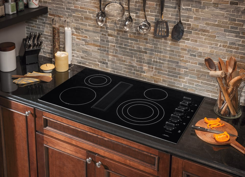 Frigidaire rc36de60pb 36 inch electric cooktop with 4 for Stove top with built in vent