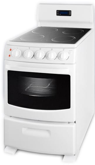 Summit White Pearl Series Rex204w 20 Inch Freestanding Smoothtop Electric Range