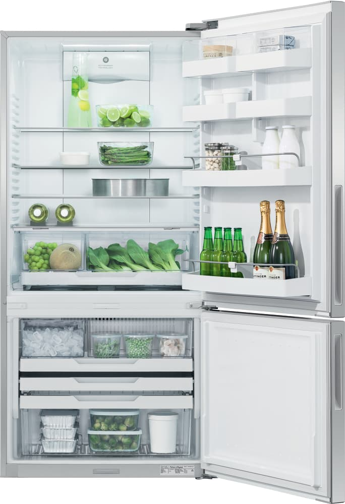 Fisher Paykel Rf170brpux6 31 Inch Bottom Freezer Counter Depth Refrigerator With 17 5 Cu Ft Capacity Adjustable Glass Shelves Humidity Controlled Drawers Adjustable Door Bins Freezer Drawers External Water Dispenser Ice Maker Pocket