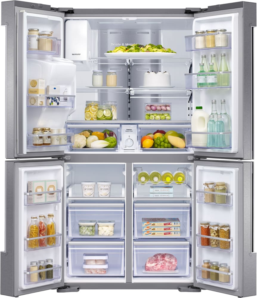 Samsung rf22k9581sr 36 inch counter depth 4 door french door samsung rf22k9581sr flexzone and the freezer feature 1 ez slide out shelf and 2 samsung rf22k9581sr 36 4 door flexzone refrigerator rubansaba