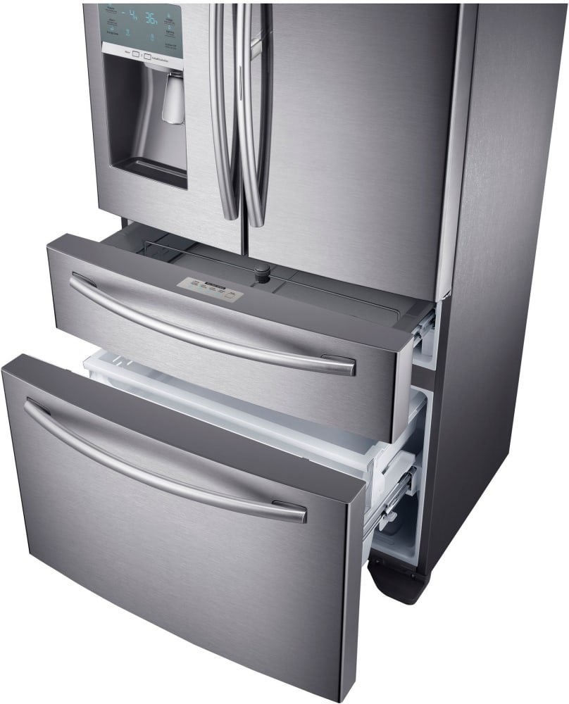 Samsung Rf22kredbsr The Flexzone Drawer Is At Counter Height Making It Easy For