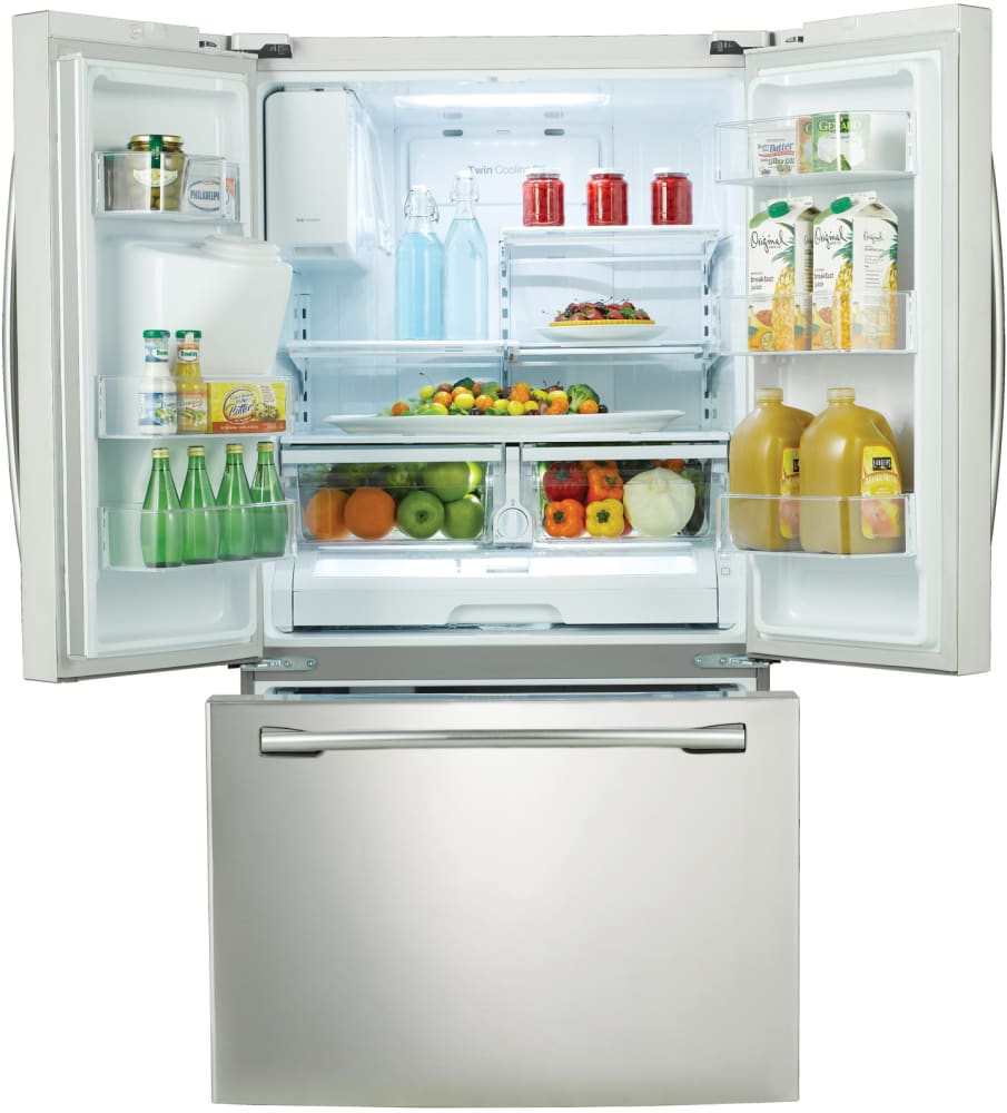 Samsung Rf263beaeww 36 Inch French Door Refrigerator From Interior View