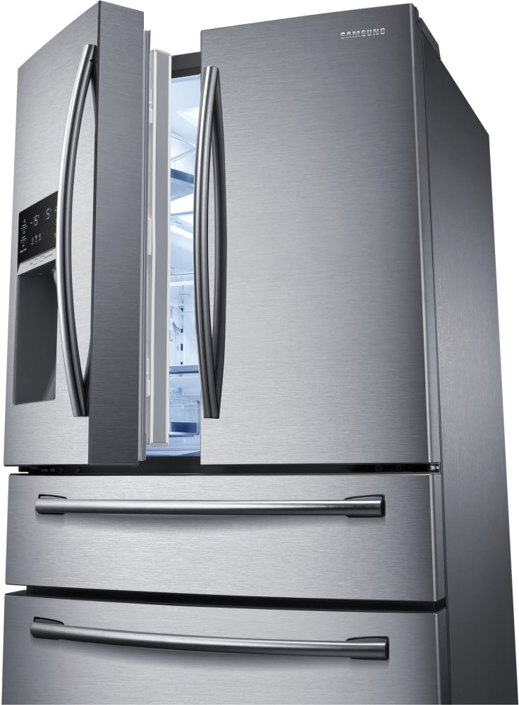 rf28hmedbsr samsung stainless steel 36 french door refrigerator w led. Black Bedroom Furniture Sets. Home Design Ideas
