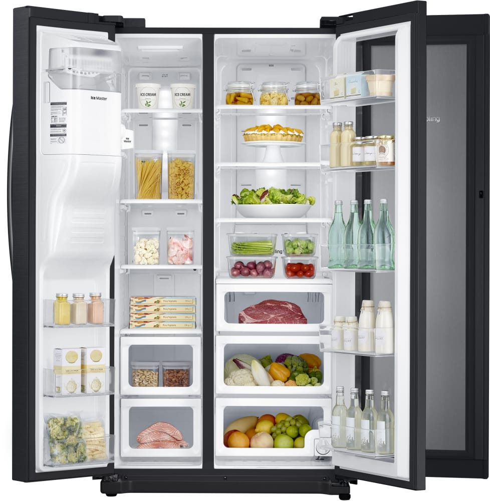 Rh25h5611sg Samsung Black Stainless Steel 36 Side By Side Refrigerator