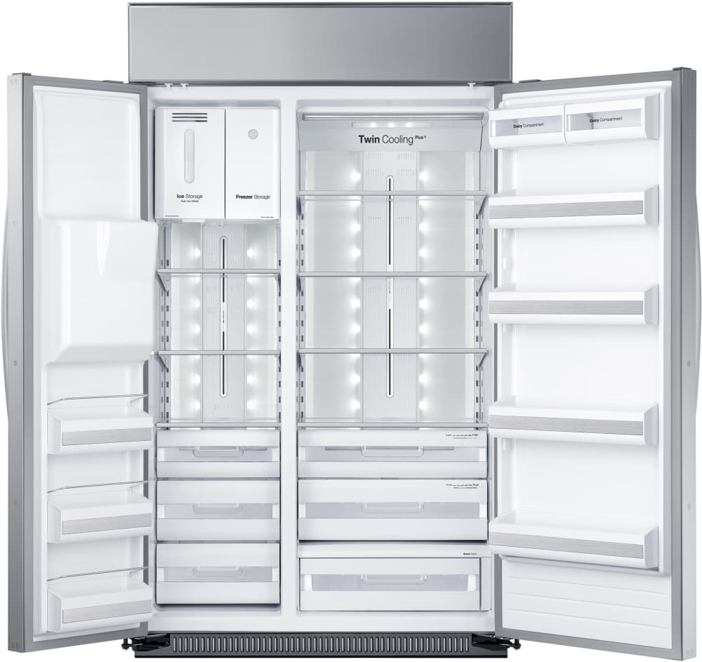 Side by side refrigerator 30 inch width -  Side By Side Refrigerator Samsung Rs27fdbtnsr Interior View