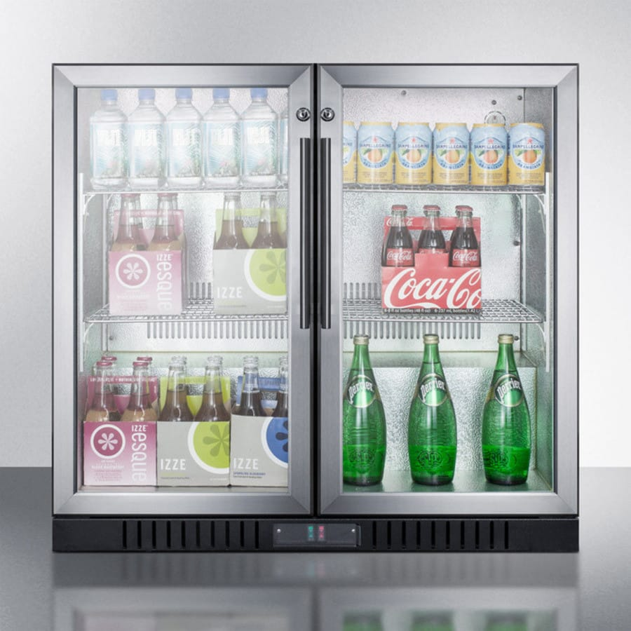 Summit scr7012d 35 inch commercial beverage center with 74 cu ft summit scr7012d two self closing glass doors offer a full view of contents inside planetlyrics Image collections