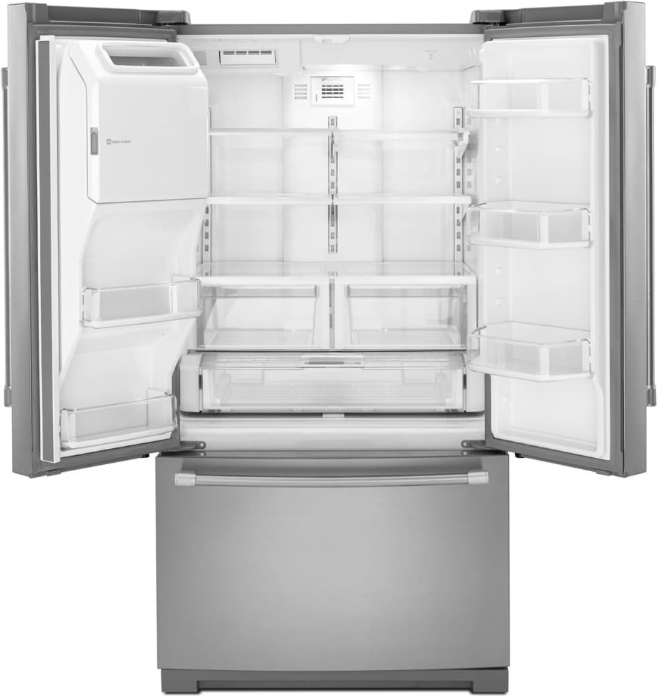 Maytag mft2574deh 247 cu ft french door refrigerator with 5 maytag heritage series mft2574deh white maytag heritage series mft2574deh open view empty rubansaba