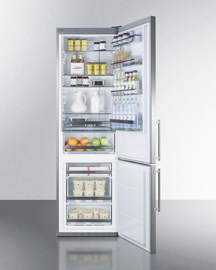 summit ffbf181es 24 inch bottom freezer refrigerator with 3 adjustable glass shelves  wine rack