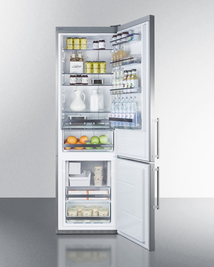 summit ffbf181esim 24 inch bottom freezer refrigerator with 3 adjustable glass shelves  wine