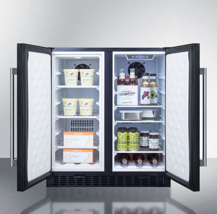 Summit FFRF3070B 30 Inch Compact Side By Side Refrigerator With 5.4 Cu. Ft.  Capacity, 3 Adjustable Glass Shelves, 3 Adjustable Wire Shelves, ...
