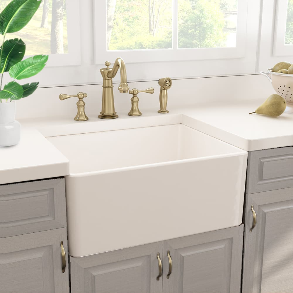 Nantucket Sinks Tfcfs24 24 Inch Undermount Farmhouse Sink With Fireclay Construction 8 1 4 Bowl Depth Grid And Drain Included