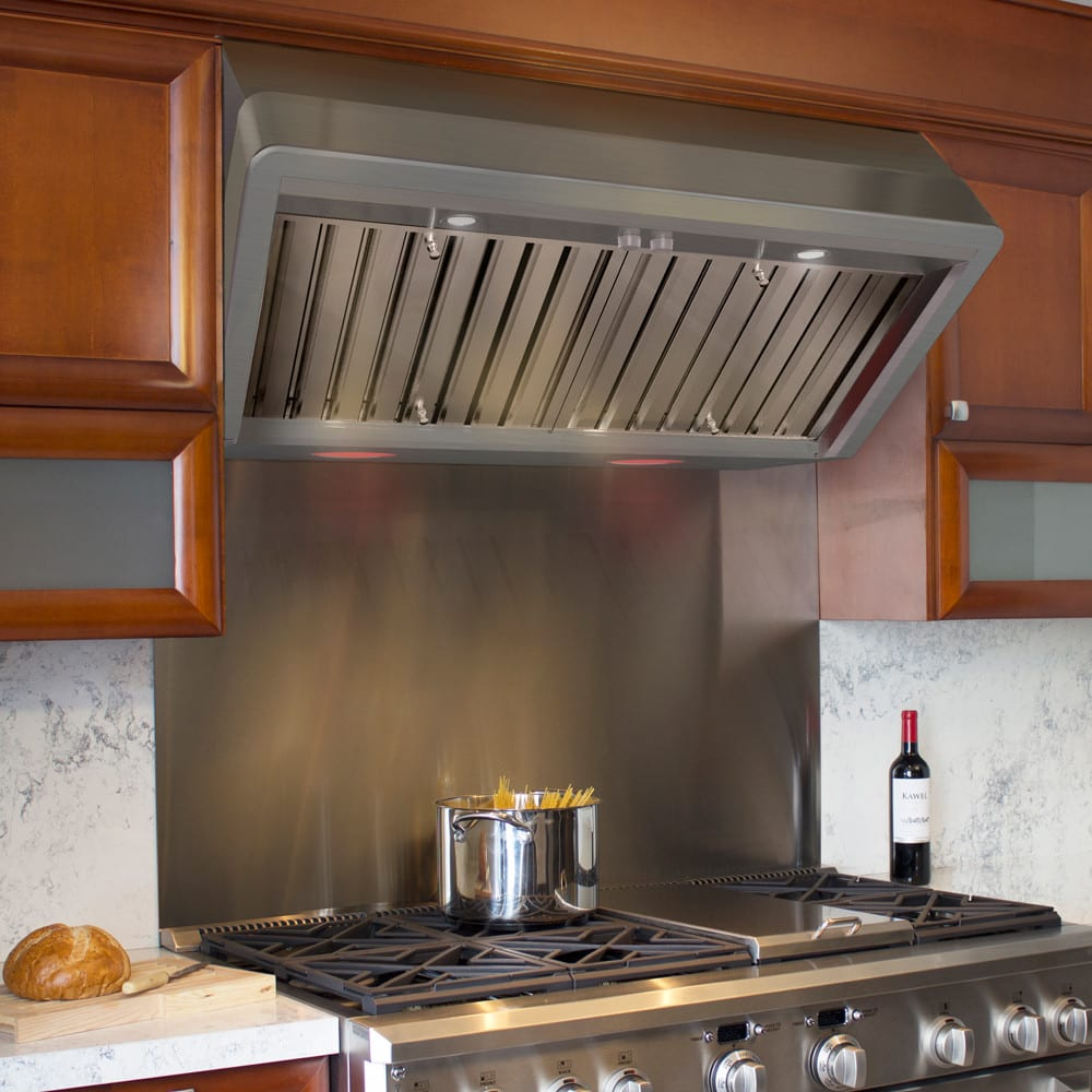 Restaurant Kitchen Without Hood: Elica ETT142SS 42 Inch Wall Mount Canopy Hood With