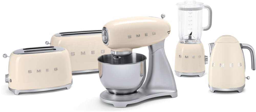 cream kitchen appliances smeg tsf02crus countertop toaster with 4 slice capacity defrost