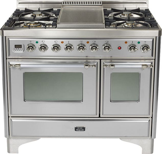Ilve Umd1006dmpix 40 Inch Freestanding Dual Fuel Range With 6 Sealed Burners 3 8 Cu Ft Capacity Ovens True European Convection 15500 Btu Triple Ring Burner And Rotisserie Exact Model Not Pictured Stainless Steel