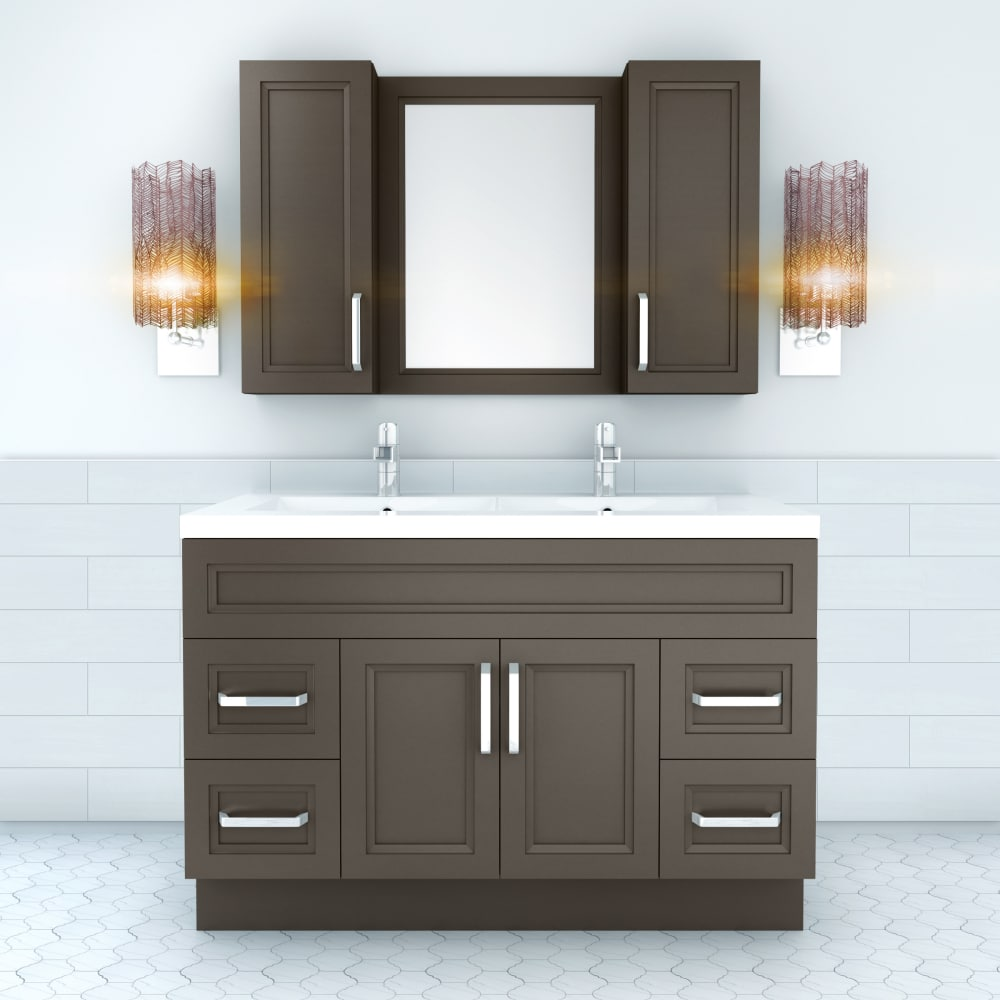Cutler kitchen bath urbsd48dbt 48 inch double bowl vanity with acrylic top with overflow european hardware 2 soft close doors 4 soft close drawers and