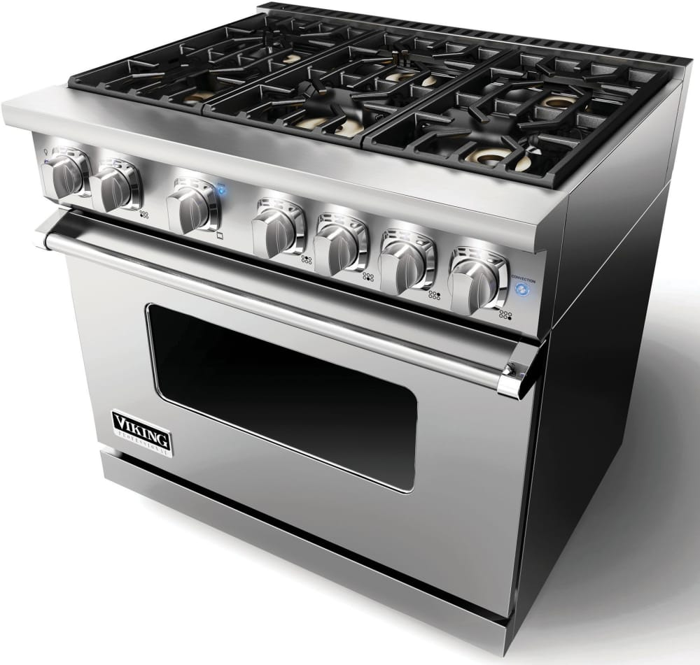 Viking Vgr73616bss 36 Inch Gas Range With 6 Sealed Burners 5 1 Cu Ft Proflow Convection Oven Varisimmer Setting Gourmet Glo Infrared Broiler