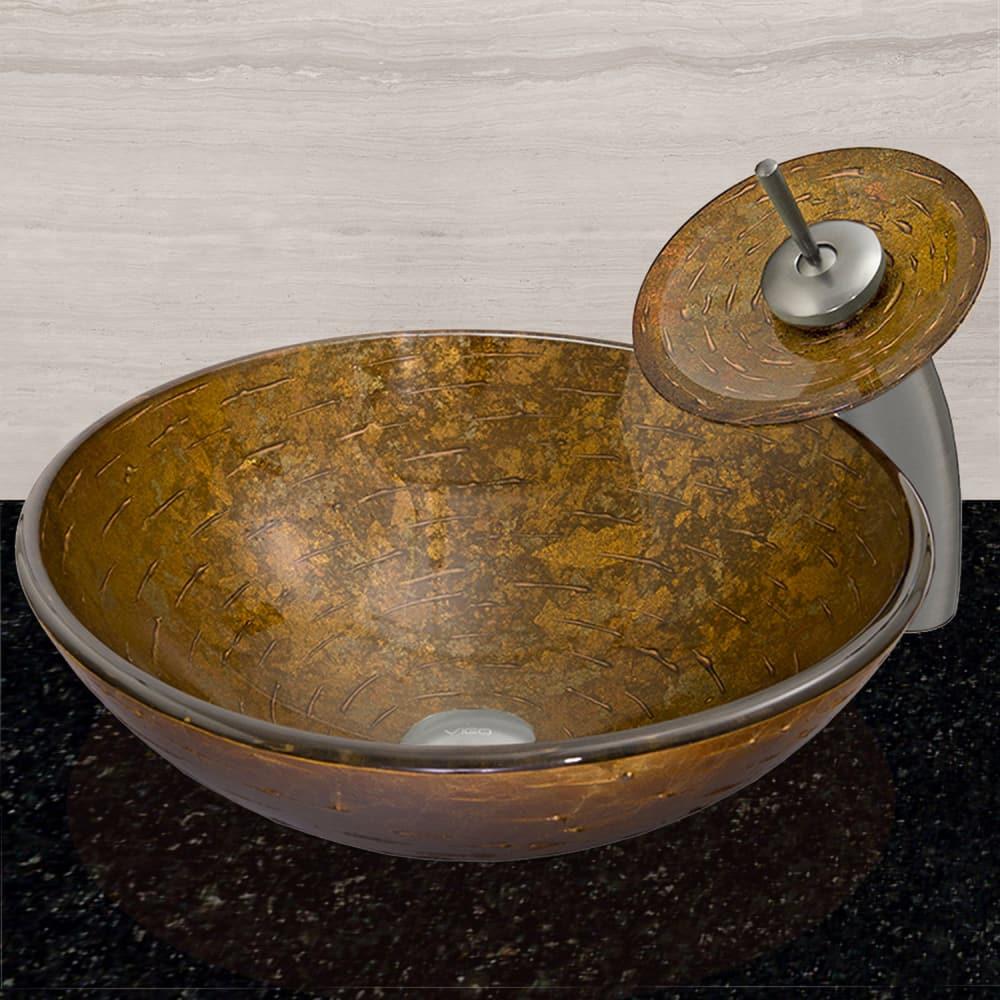 Vigo industries vg07025 textured copper glass vessel sink for Ajmadison