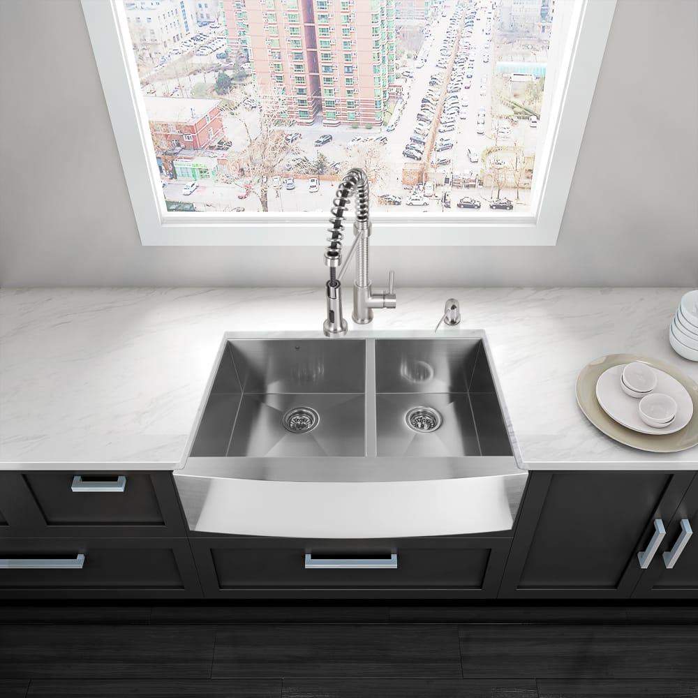 vigo farmhouse sink. Vigo Industries VG3320BL - Lifestyle View Farmhouse Sink T