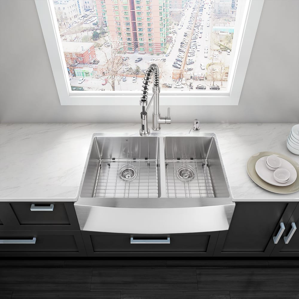 Vigo industries vgr3620bl 36 inch farmhouse double bowl sink with 15mm radius 16 gauge 304 - Vigo sink accessories ...