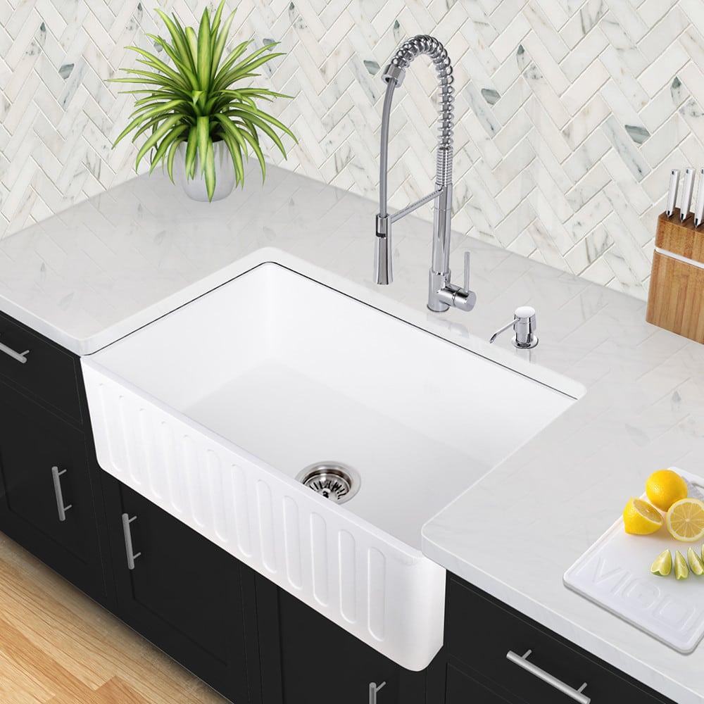 Vigo Industries VGRA3618CS 36 Inch Matte Stone Single Bowl Farmhouse Sink Wit
