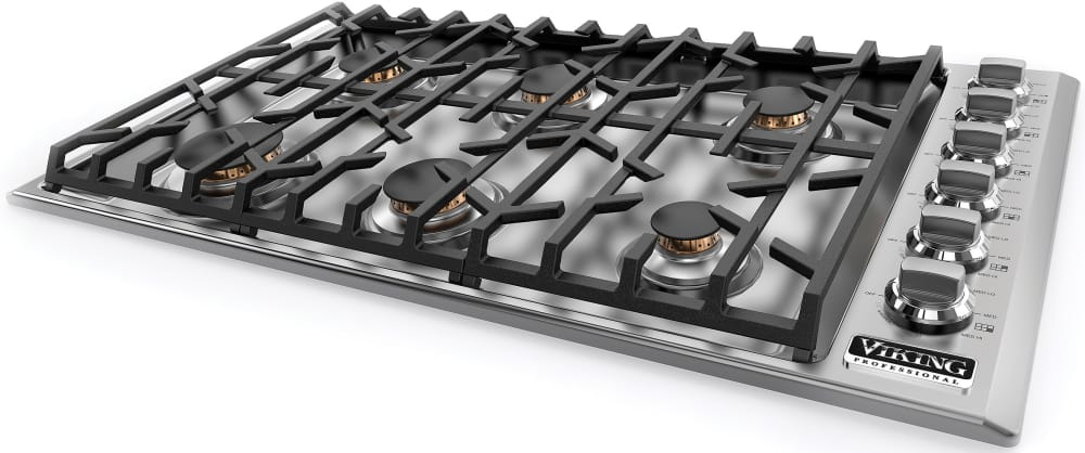gas cooktop viking. Viking Professional 5 Series VGSU5366BSS - Angle View Gas Cooktop I