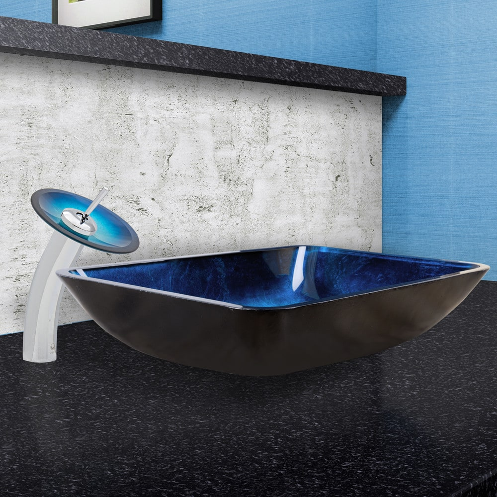 ... Vigo Industries Vessel Sink Collection VGT055CHRND   Rectangular  Turquoise Water Glass Vessel Sink And Waterfall Faucet