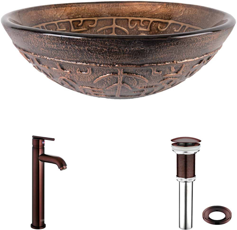 Vigo Industries Vgt127 Copper Mosaic Glass Vessel Sink Set