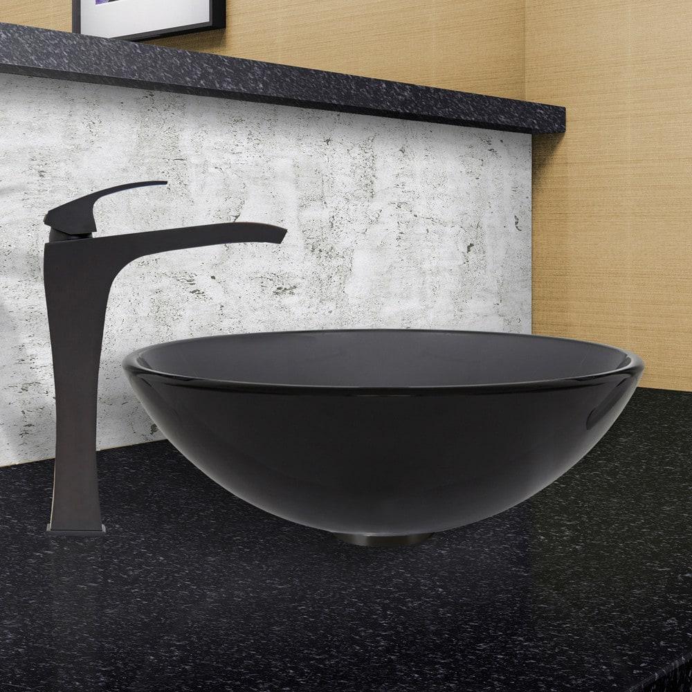 Vigo Industries VGT461 16.5 Inch Sheer Black Glass Vessel Sink with ...
