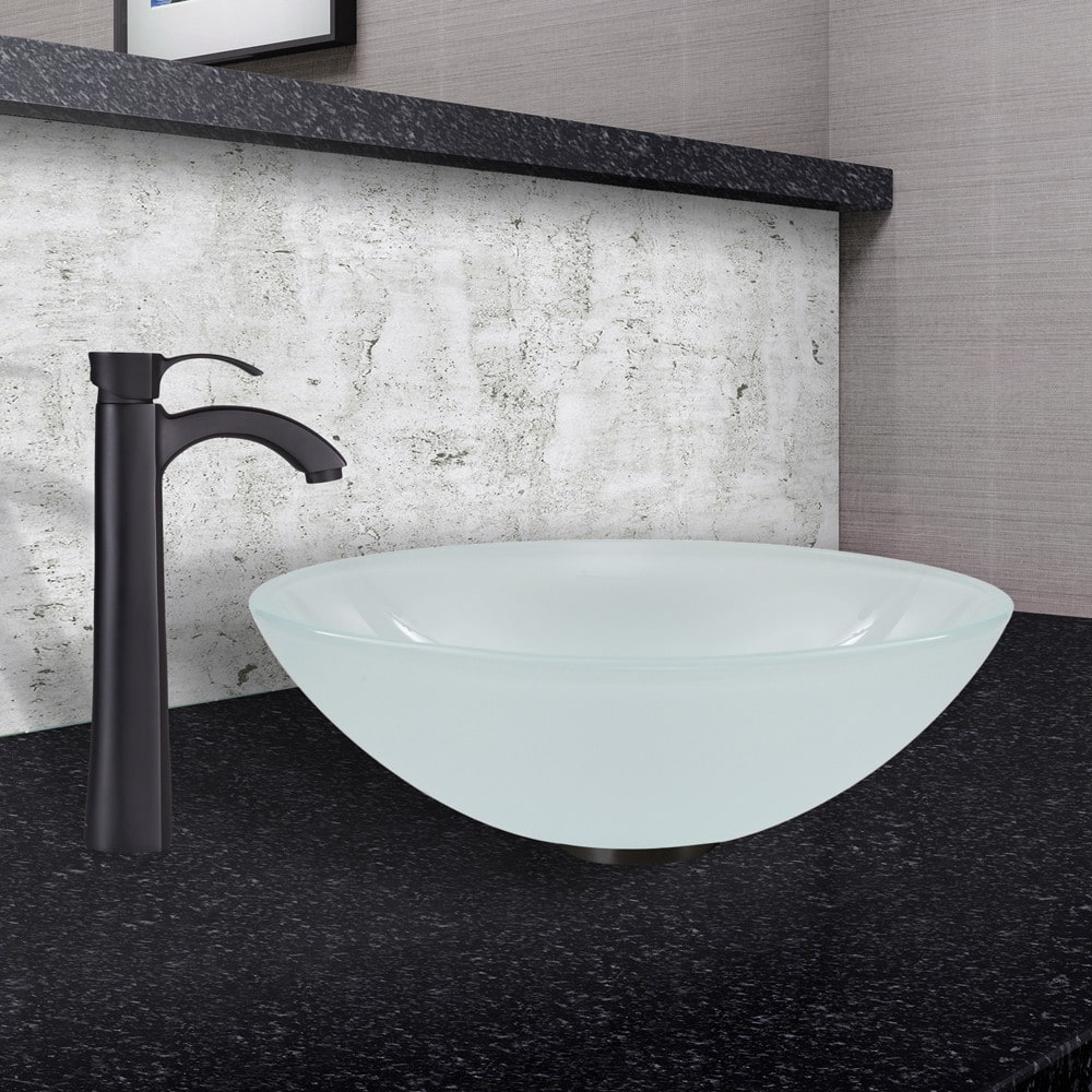 White Frosted Gl Vessel Sink Image And Toaster