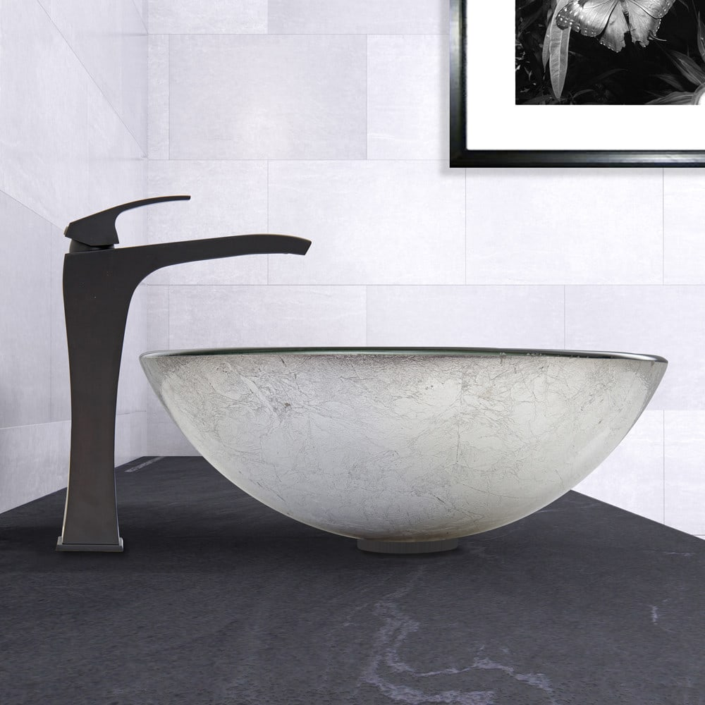 ... Vigo Industries Vessel Sink Collection VGT609   Simply Silver Glass  Vessel Sink And Blackstonian Faucet Set ...