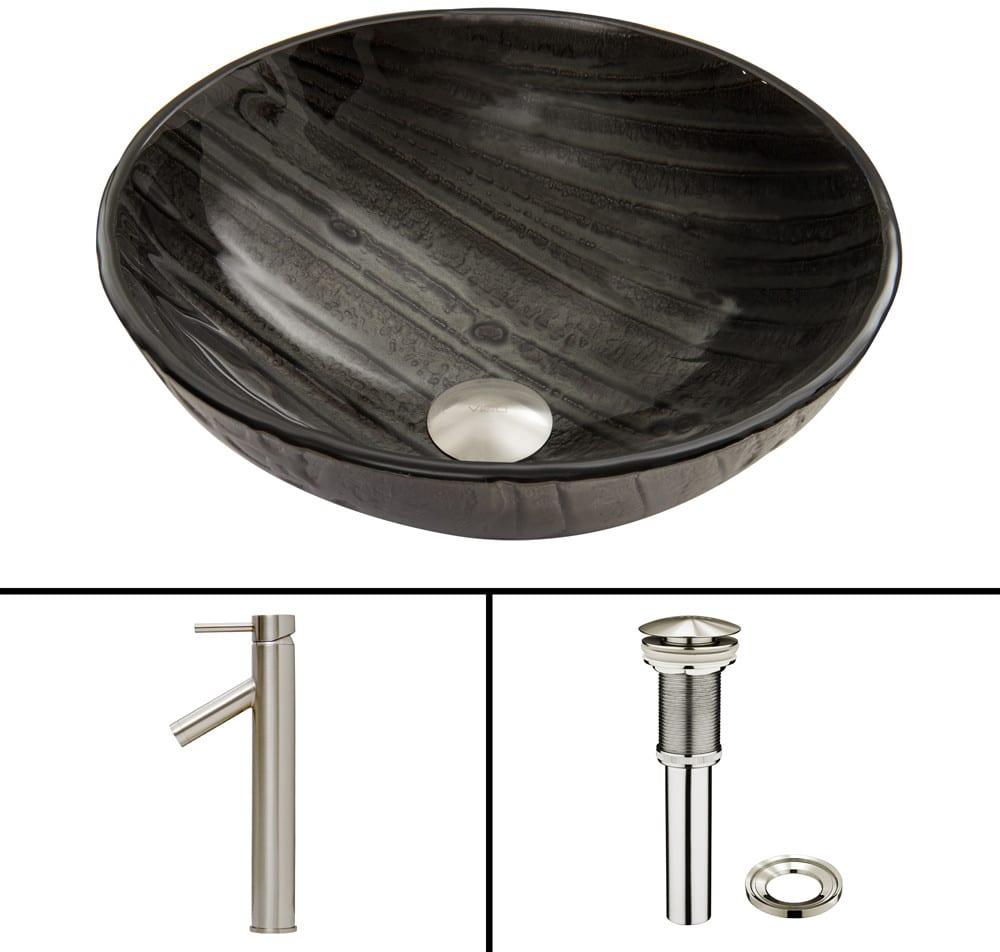 Vigo Industries VGT681 16.5 Inch Interspace Glass Vessel Sink with 6 ...