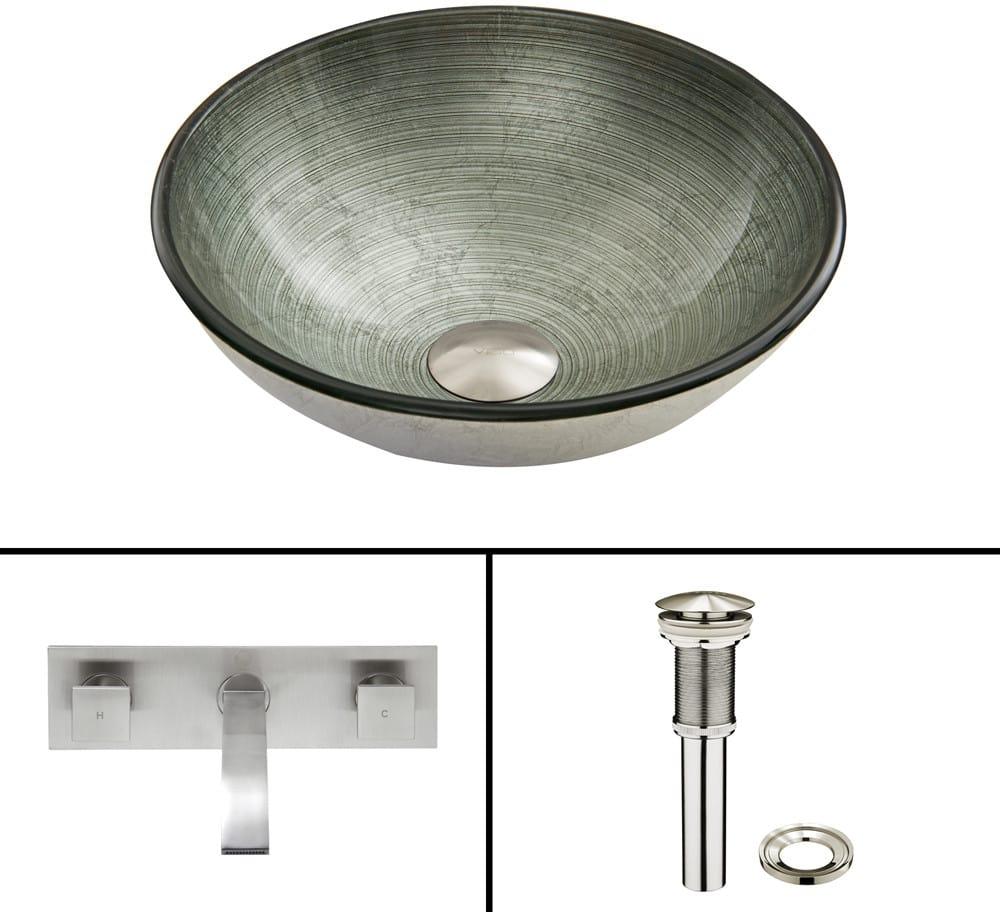 Vigo Industries VGT843 16.5 Inch Simply Silver Glass Vessel Sink ...