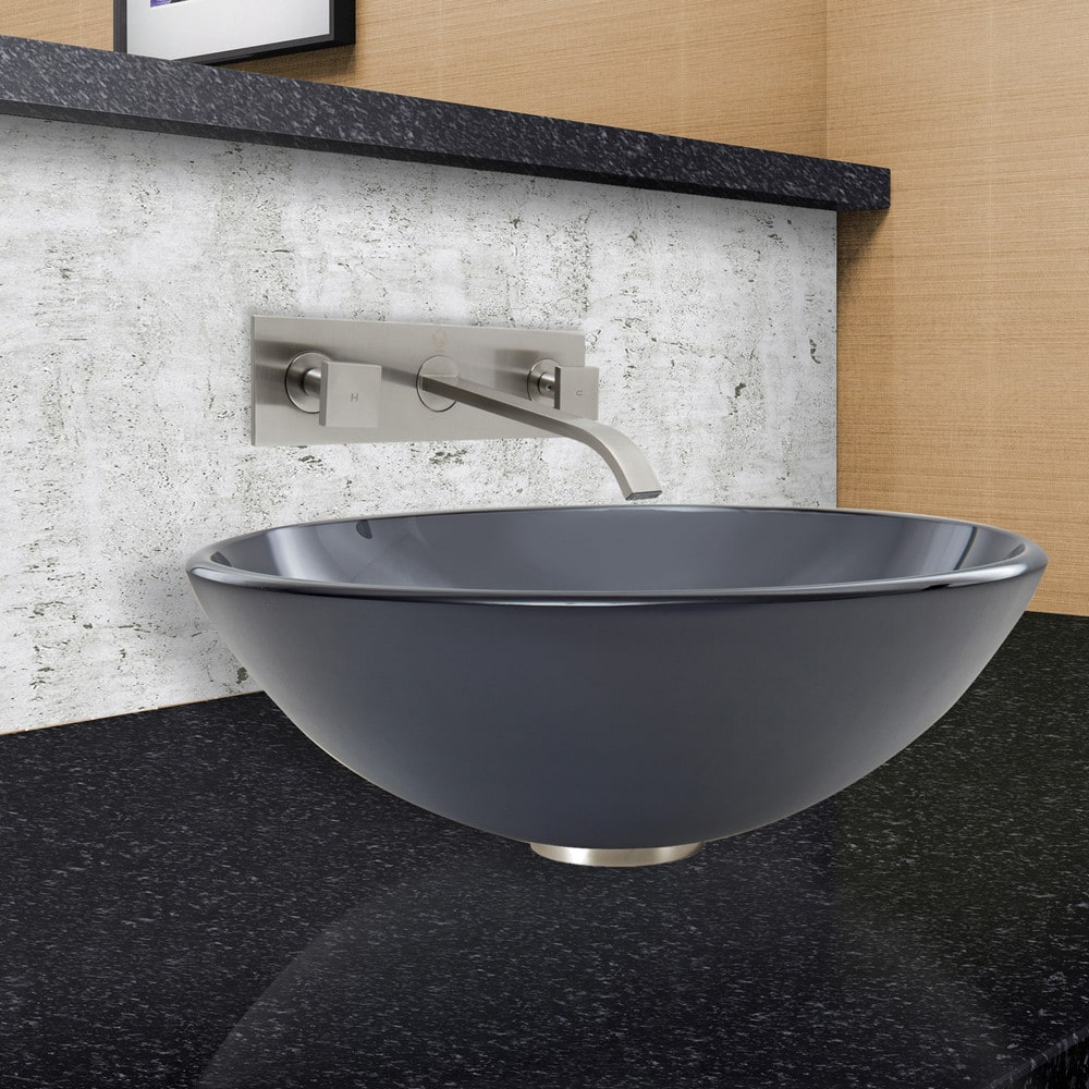 Vigo Industries VGT871 16.5 Inch Sheer Black Frosted Glass Vessel ...