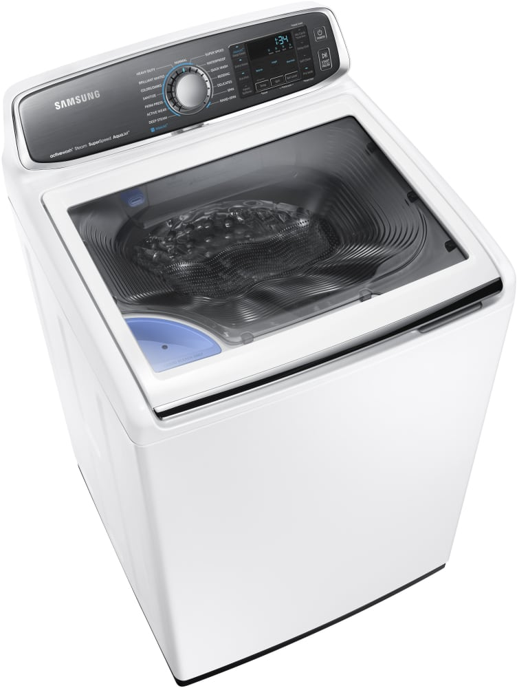 samsung wa52j8700aw 27 inch 5 2 cu ft top load washer with 15 wash cycles 1 100 rpm steam. Black Bedroom Furniture Sets. Home Design Ideas